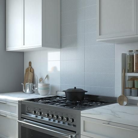 Wall Tiles Decor Glamorous Hartingdon Geo Gloss Decor Wall Tile Blue Ceramic Kitchen Tiles Decorating Inspiration