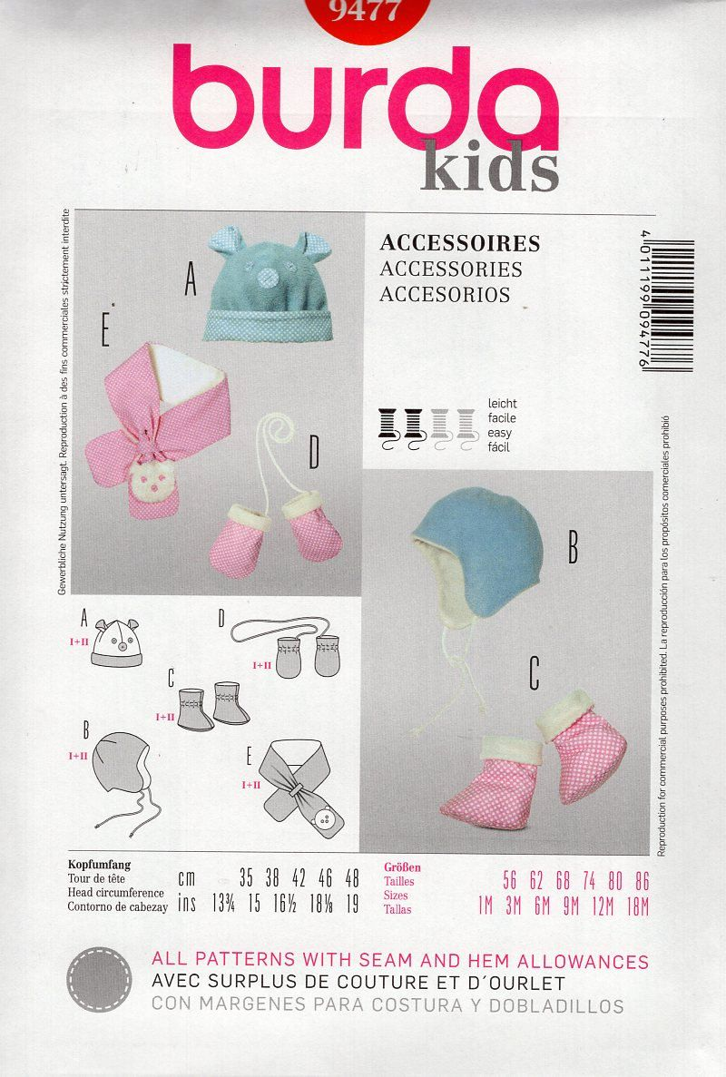 Burda 9477 kids baby babies infant sewing pattern free us ship burda 9477 kids baby babies infant sewing pattern free us ship size to 18 mo hat scarf mittens booties fleece hat out of print by lanetzliving on etsy jeuxipadfo Image collections