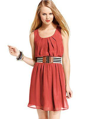 8ac672031 BCX Juniors Dress, Sleeveless Belted | Wish I Had Dresses | Junior ...