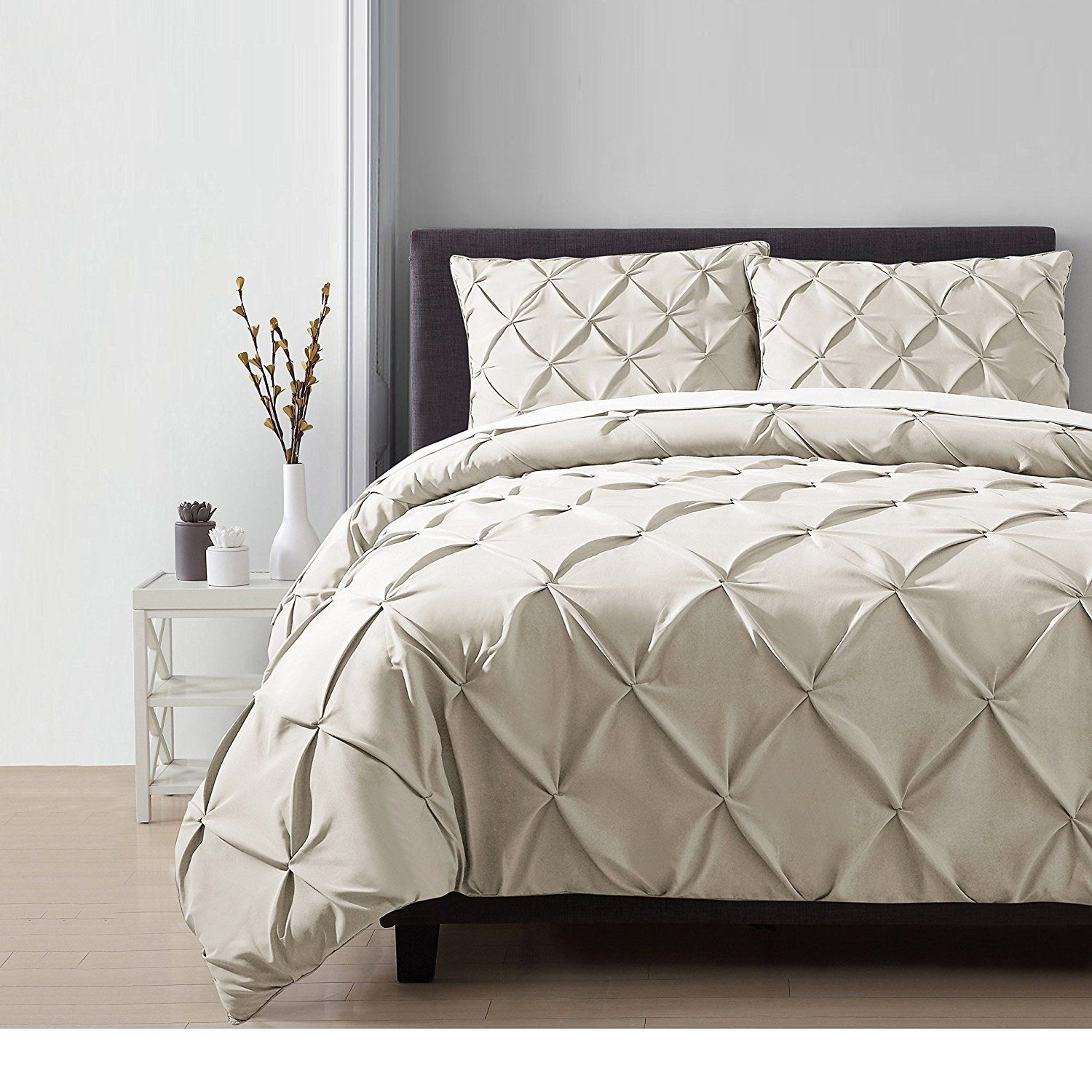 3pc Taupe Beige Pinch Pleated Duvet Cover King Set Chic Pintuck