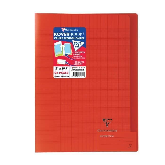 CLAIREFONTAINE Carnet de notes Koverbook – 96 pages – 21 x 29,7 cm – 90 g – Rouge   – Products