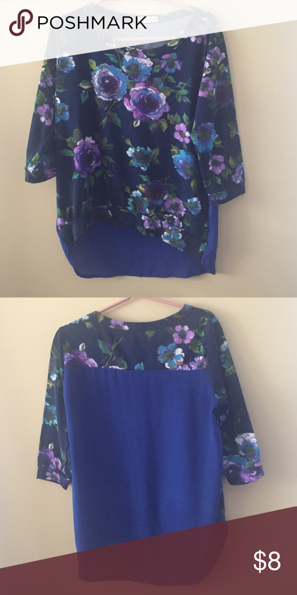 7ac3b67b5c6806 Flowy Floral Navy Top with Sheer Back