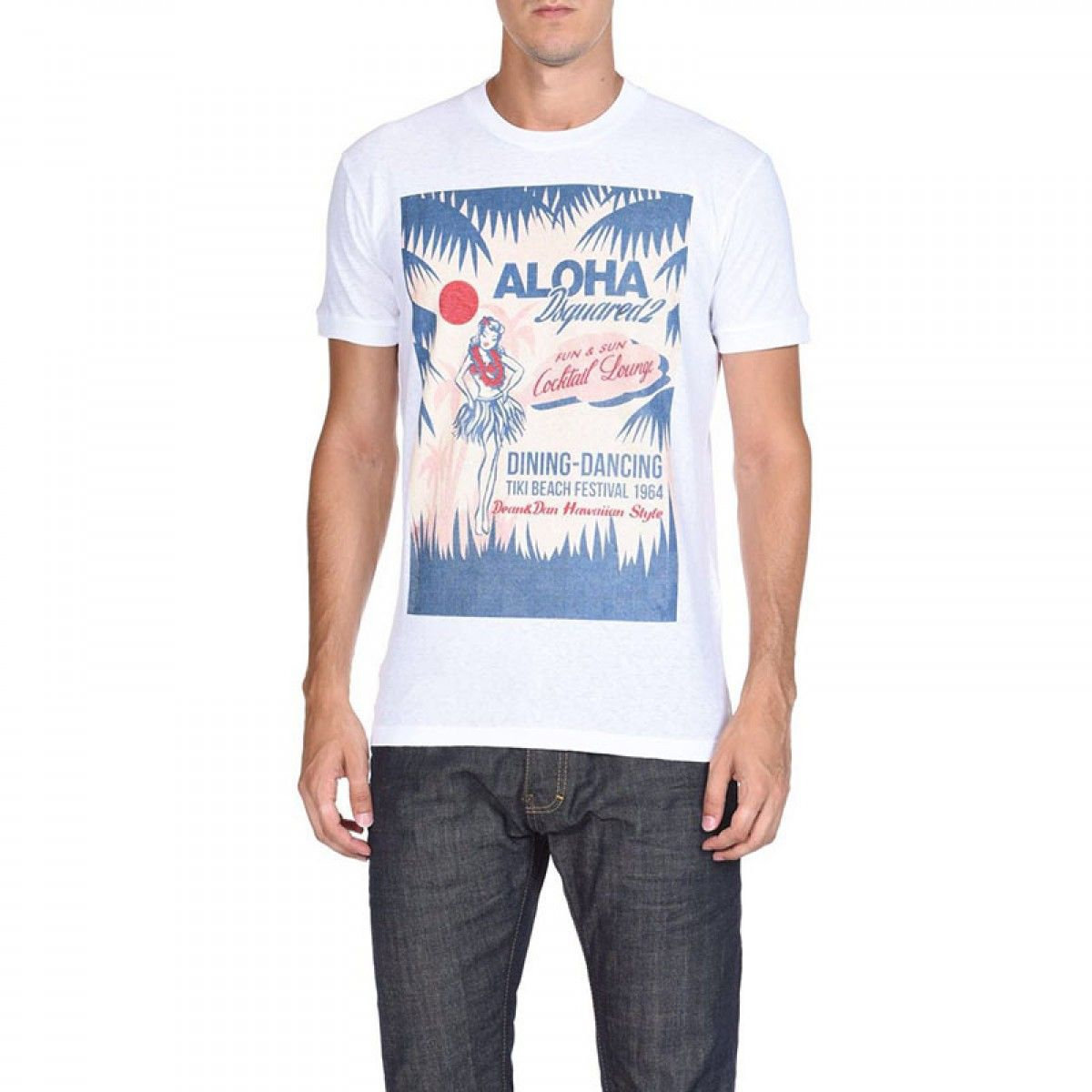 Dsquared2 SS2018 Mens T-Shirt DT245 ALOHA White