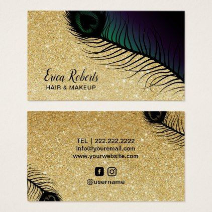Makeup artist hair salon gold glitter chic peacock business card makeup artist hair salon gold glitter chic peacock business card office ideas diy customize special office pinterest salon gold reheart Image collections