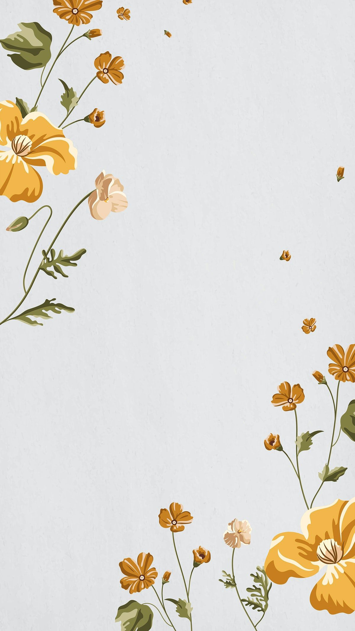 Download premium vector of Yellow flower on a gray background with copy space vector by Aew about story, floral phone background, Floral mobile phone screen, background blooming, and android wallpaper 2273282