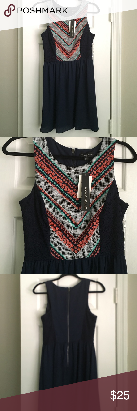 Navy Blue with Coral, Teal and Lace Accents Dress Beautiful navy blue dress with coral, teal and lace accents. Perfect for a summer wedding or event. Never worn. My Michelle Dresses Mini