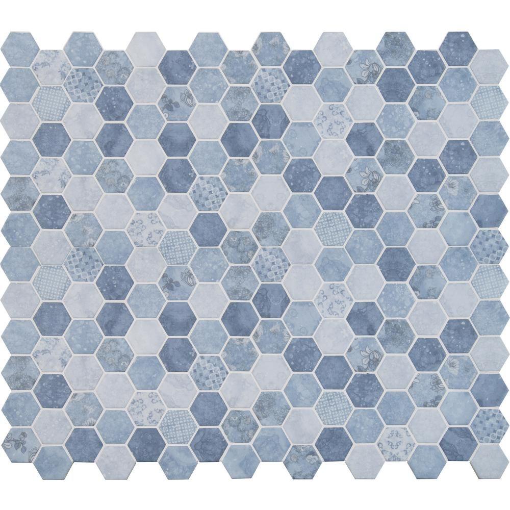 MS International Vista Azul Hexagon 11 in. x 13 in. x 6 mm Glass ...