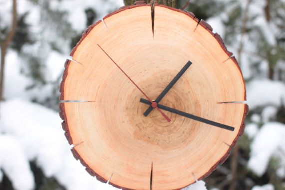 Rustic alder natural Wall Clock Log wonderful wall and slice of wood clock - Unusual wall clock gift ideas holiday classy awesome