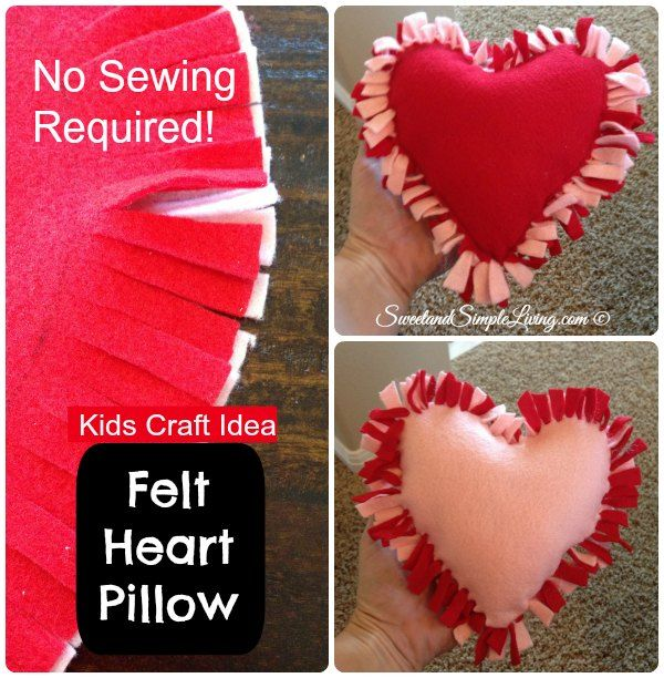 Easy Sew Heart Pillow: DIY Felt Heart Craft Idea  No Sewing Required   Simple shapes    ,
