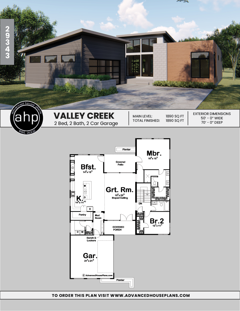 1 Story Modern House Plan Valley Creek Small Modern House