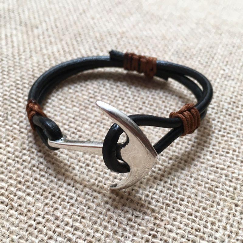 pulsera-estilo nautico-ancla cuero negro y marrón