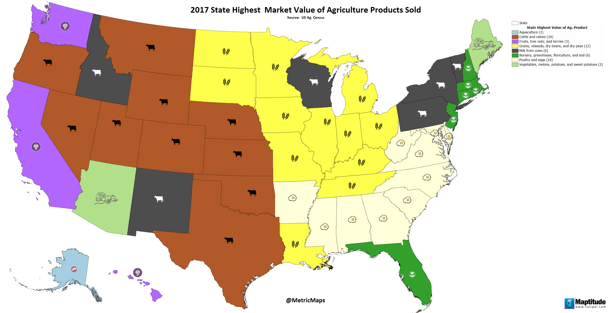 2017 State Highest Market Value of Agriculture Products