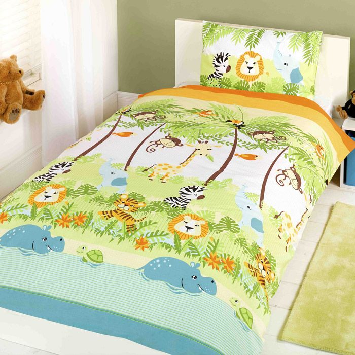 Children S Duvet Cover Set With All The Monkeys And Hippos Your Little One Can Dreams Of This Kids Du Kids Duvet Cover Toddler Duvet Cover Cot Bed Duvet Cover