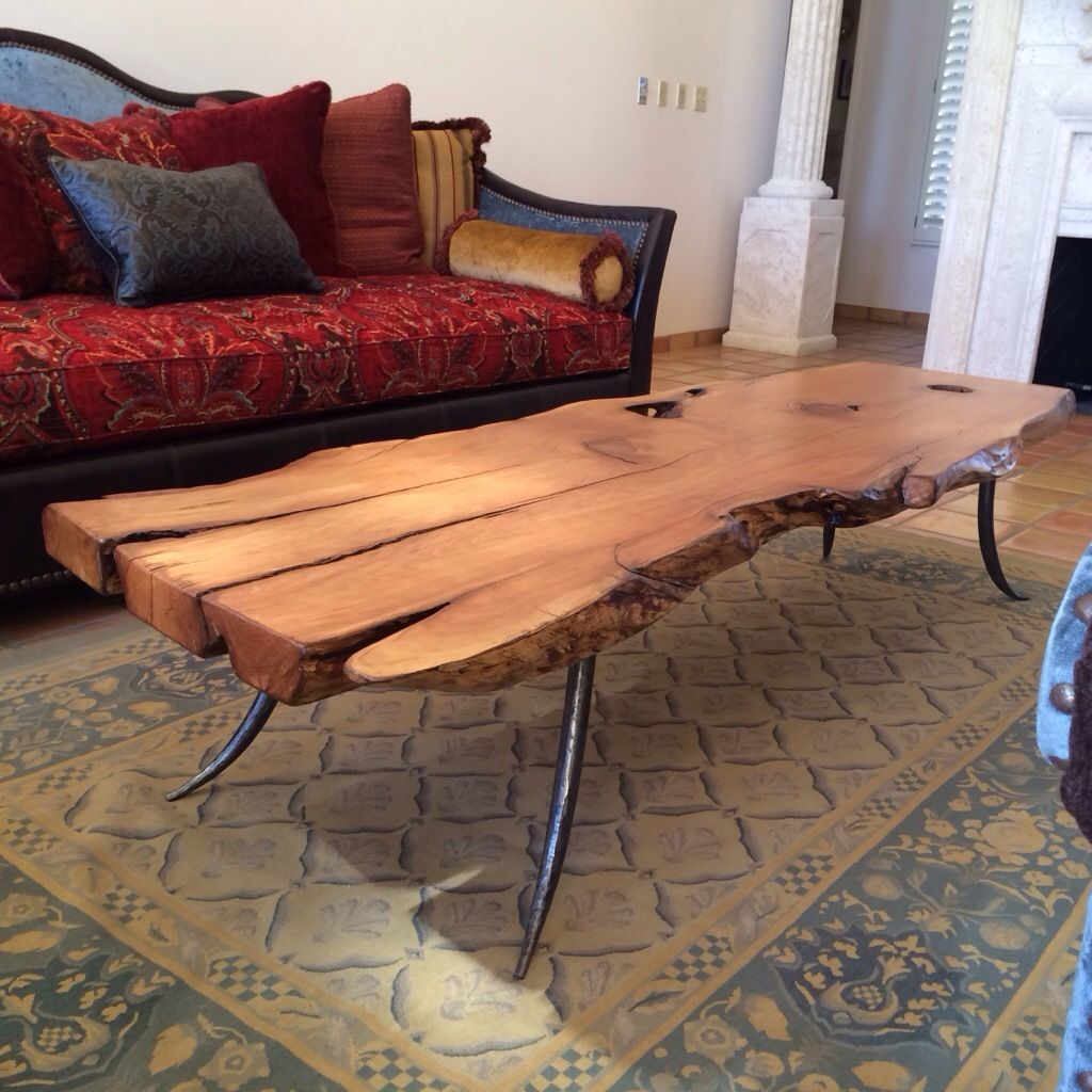 Alligator juniper slab table with steel forged legs steel coffee alligator juniper and forged steel coffee table geotapseo Images