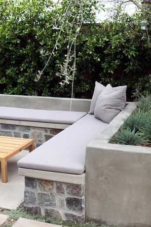 Contemporary Patio With Raised Beds Fence Private Backyard