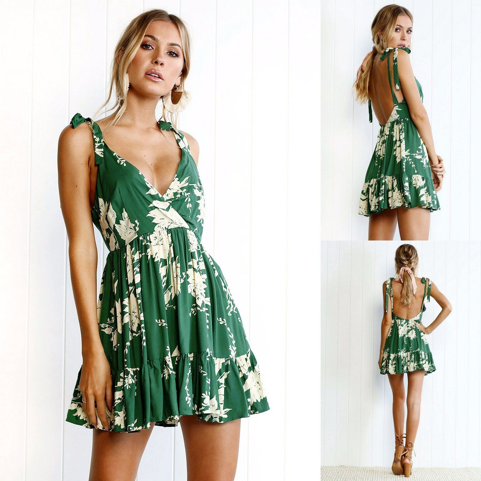 Green bohemian backless short party dress party dresses