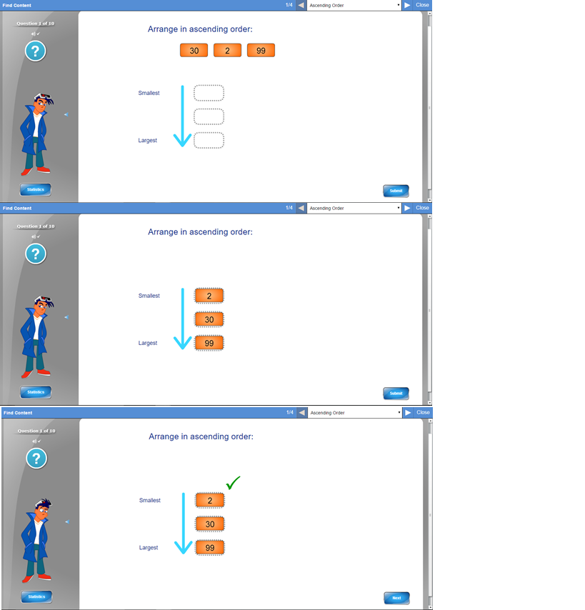 Mathletics for year 2 students, example of ascending numbers through ...