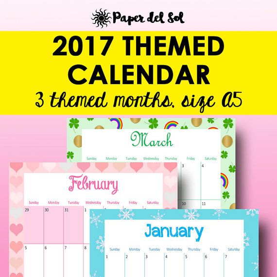 2017 Calendar Printable, 2017 Planner Printable Calendar These bold - Perpetual Calendar Template