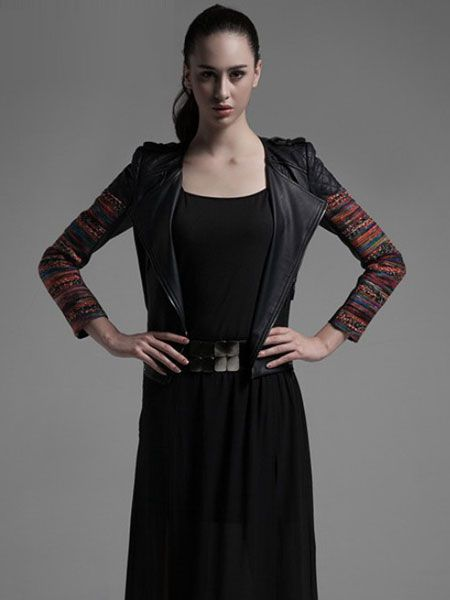 Black Turn Down Collar Zipper Splicing PU Leather Jackets