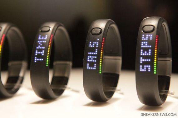 Nike+ Fuelband. The bracelet tracks calories burned, steps taken, and time,  but