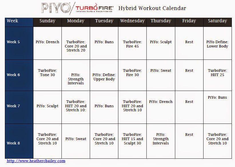 Hard Workin Mommie Piyo And Turbofire Hybrid Calendar  Workouts