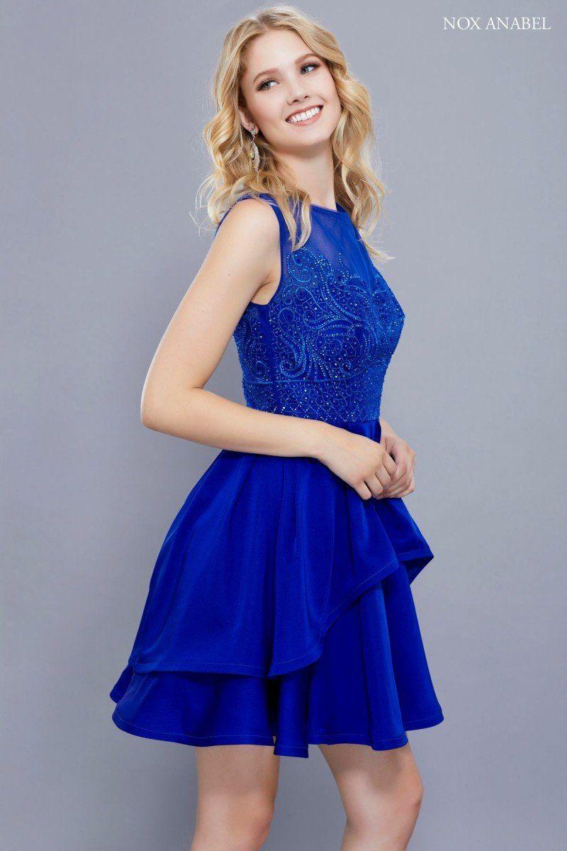 N 6356 Beaded Sweetheart Mesh High Neck Gown Blue Dress Short Von Maur Dresses High Low Prom Dress [ 1200 x 800 Pixel ]
