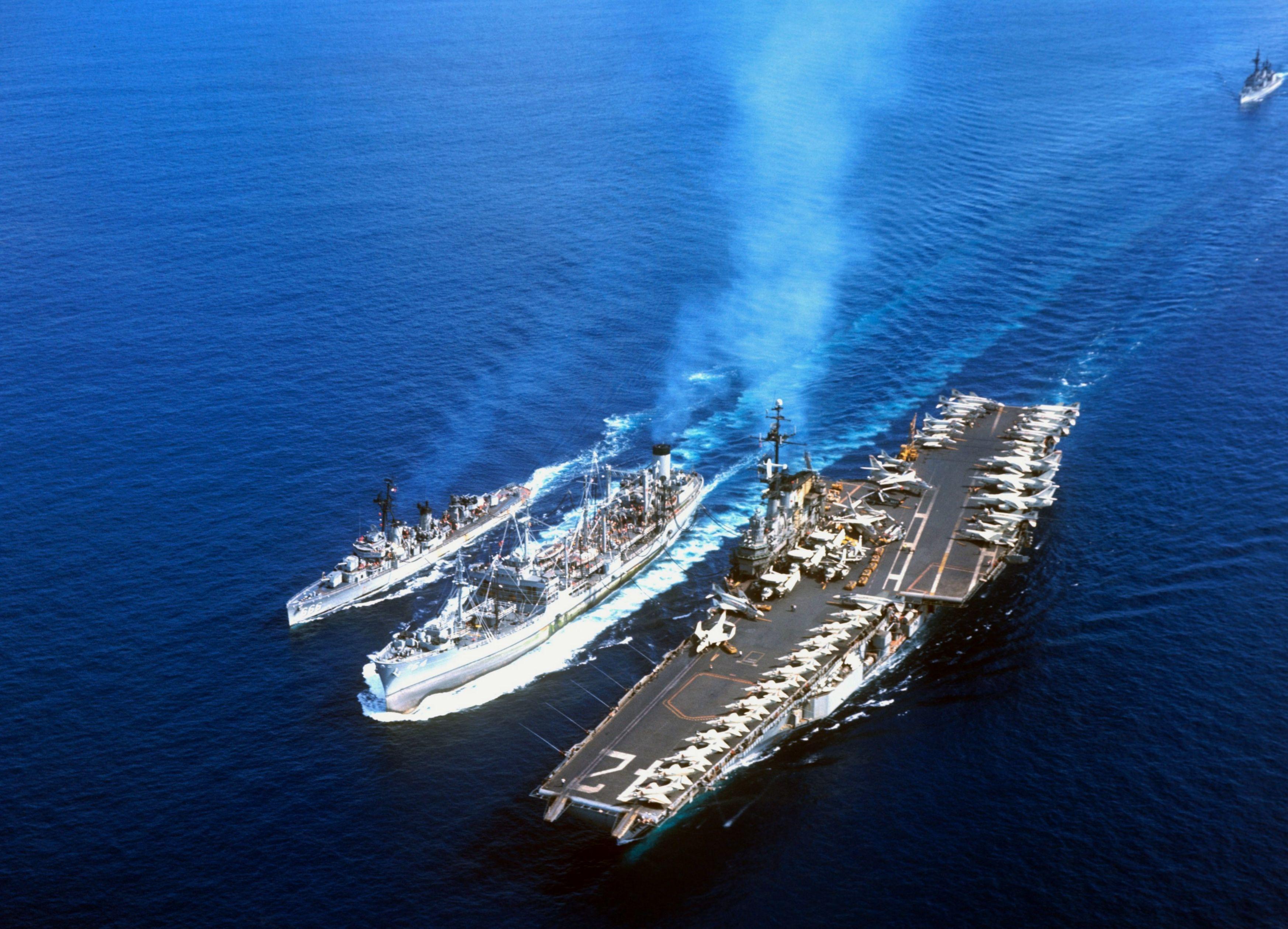 USS Franklin D. Roosevelt (CVA-42) - Midway class Aircraft Carrier w USS Tolovana (AO-64) - Cimarron class Fleet Oiler and USS Black (DD-666) - Fletcher class Destroyer (USA)
