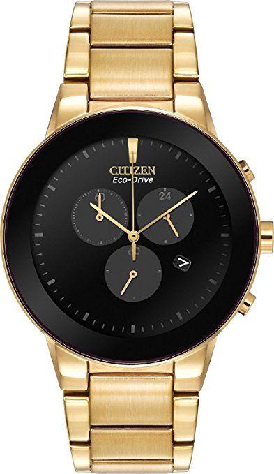 Citizen # AT2242–55E Hombre Eco Drive Axiom Oro Tono Acero inoxidable Esfera de color negro reloj cronógrafo