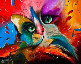 Kat Print Giclee Print Huisdier Kunst Schilderkunst Door Naushadarts Met Afbeeldingen Kattenschilderijen Kattenkunst Kat Schilderij