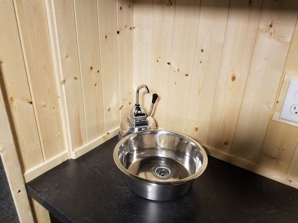 Above counter sink and pump faucet. | Cargo Trailer To Camper ...