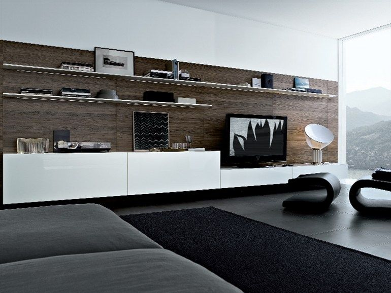 Modular wooden tv wall system sintesi design by carlo colombo poliform