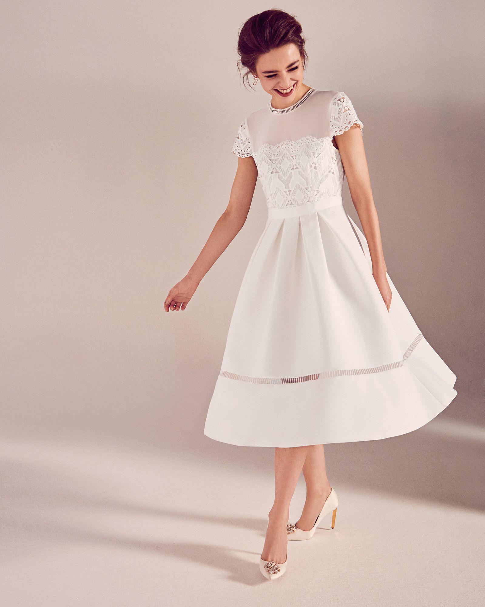 Lace Bodice Midi Dress Ivory Dresses Ted Baker Confirmation Dresses Midi Dress Formal Midi Wedding Dress