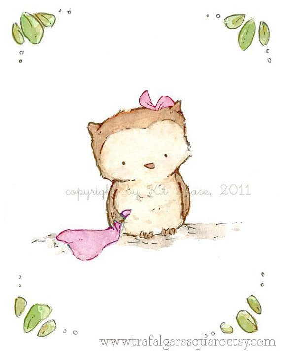 Nursery Art Print for Baby and Children by trafalgarssquare Little Owl in soft baby pink 5X7