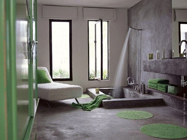 idee-deco-originale-salle-bain-gris-vert2 | Design | Pinterest ...