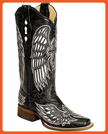 a1867583968 Corral Women s Distressed With White Cross And Wing Inlay Cowgirl Boot  Square Black 7.5 M US - Boots for women ( Amazon Partner-Link)