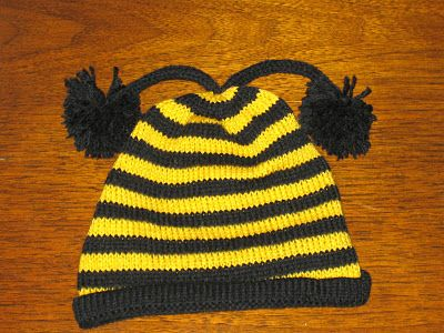 Marzipanknits Free Machine Knit Pattern For A Baby Bee Hat Baby