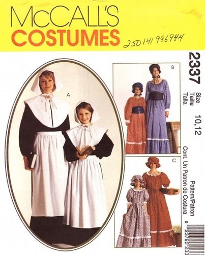 McCall\'s Pattern 2337 Girls Costumes - Puritan, Pioneers, Colonial ...
