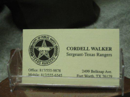 Walker Texas Ranger Business Card Chuck Norris Interest TV Show FREE SHIPPING