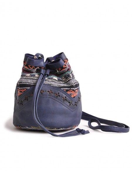 Bolso Desiree textil y piel azul | comprar ropa molet
