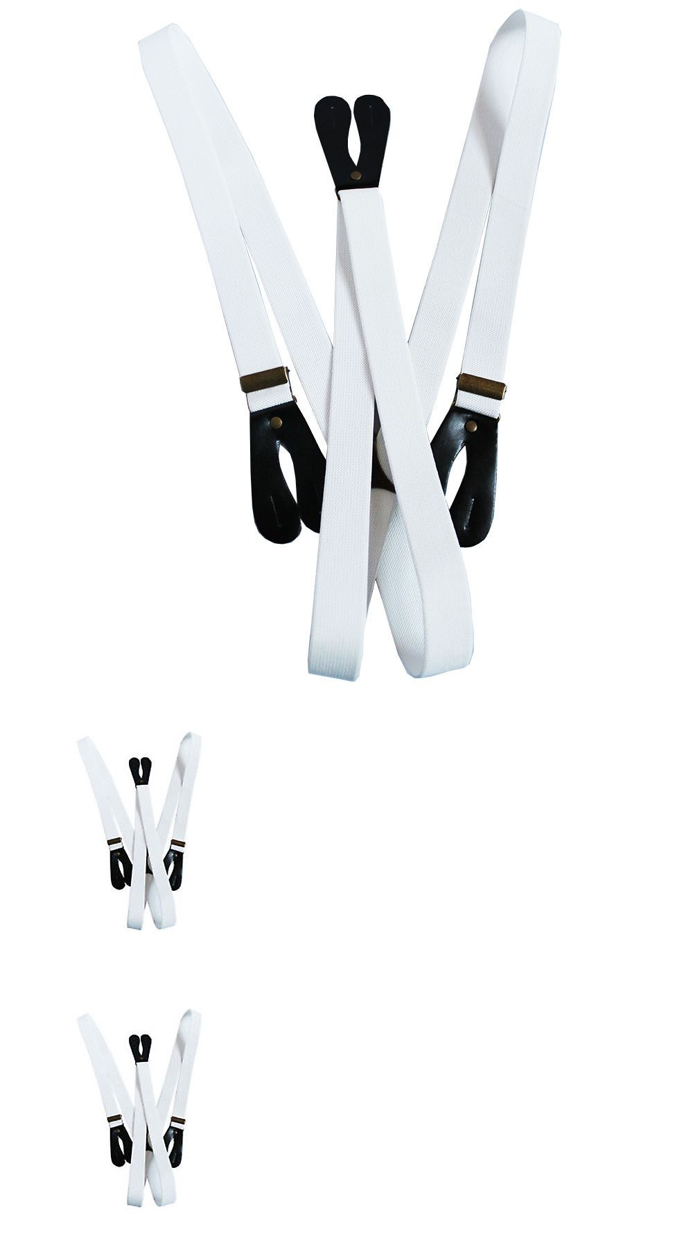 Braces White 2 Button Hole Wide Suspenders Adjustable Elastic Trousers 20mm