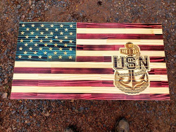 Navy chief, Senior Chief, Master Chief Rustic American flag