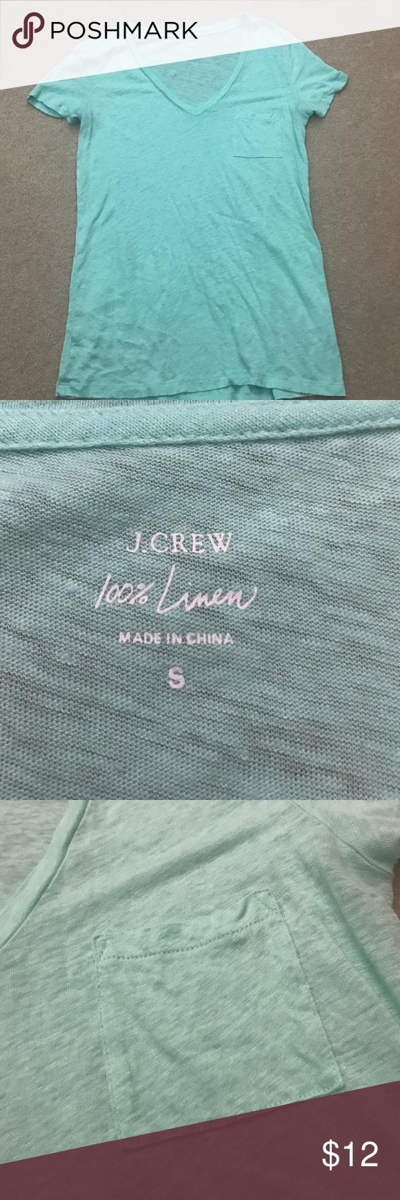 J crew linen tee Perfect condition! Jcrew aqua colored linen short sleeve tee! J. Crew Tops Tees - Short Sleeve