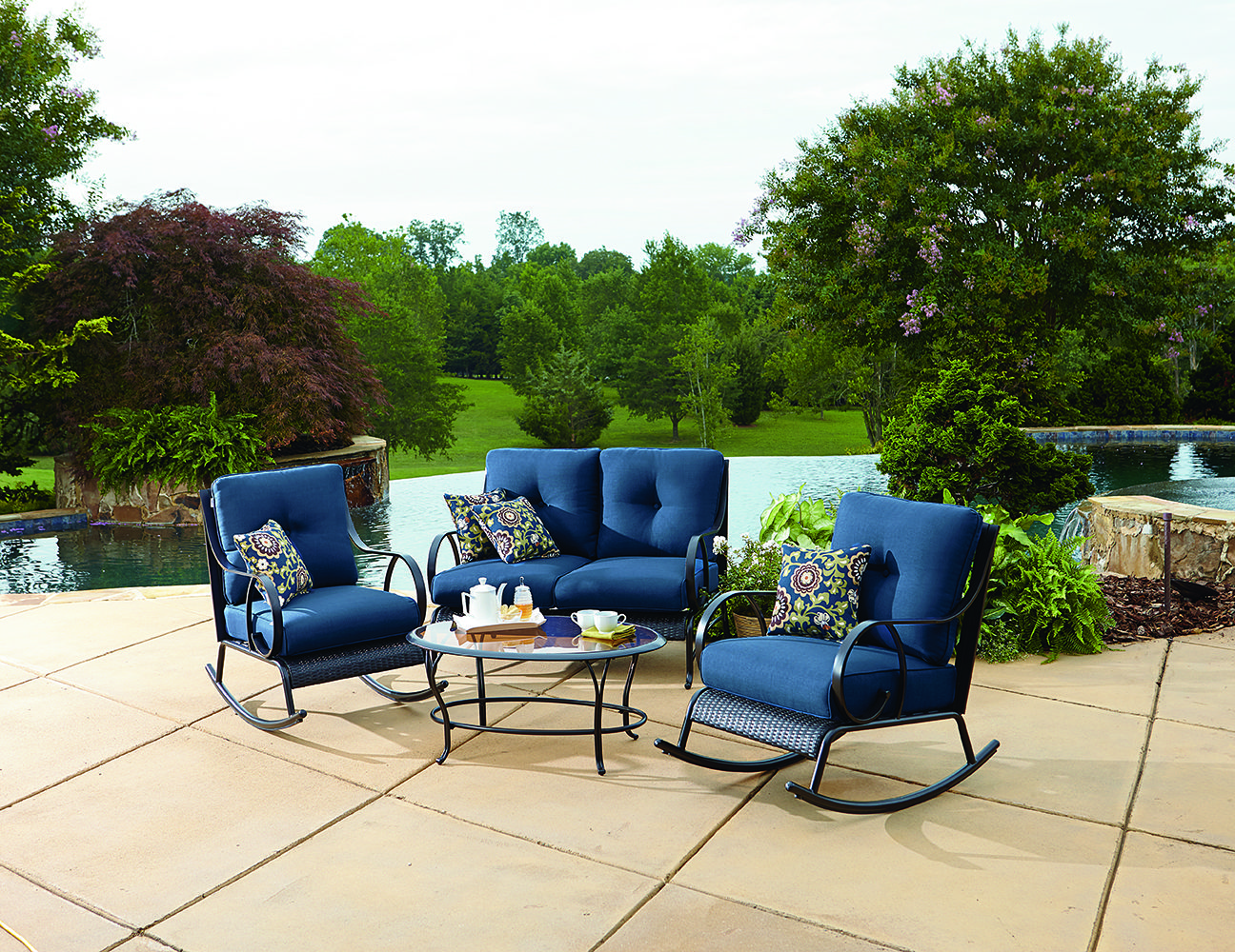 LaZBoy Outdoor Avery 4 Piece Seating (Blue) Lazy boy