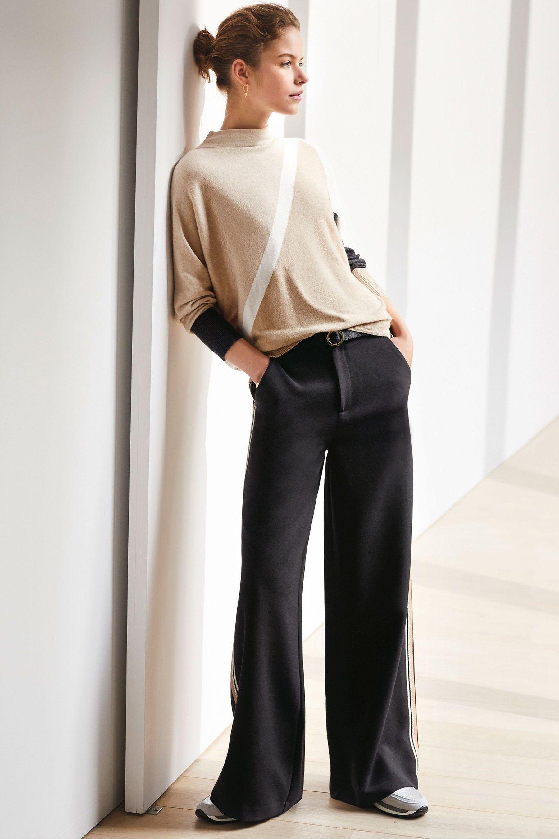 bae9c7318b6d Womens Mint Velvet Black Side Stripe Wide Leg Trouser - Black in ...