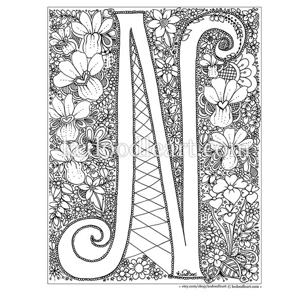 n coloring pages Instant Digital Download   adult coloring page   letter N  n coloring pages