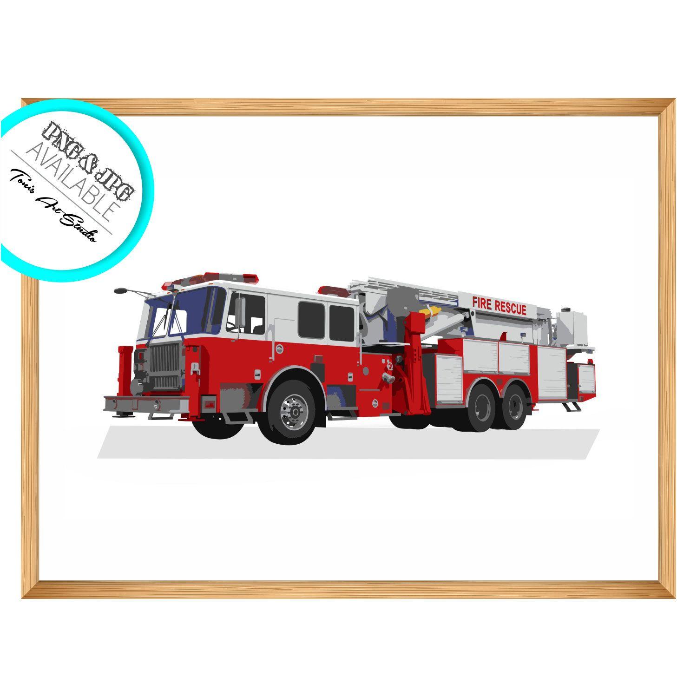 Firetruck Wall Art Firetruck Print Transportation Art Childrens