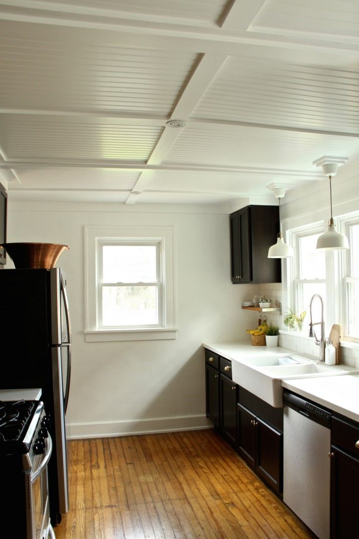 Rehab Diaries Diy Beadboard Ceilings Before And After Remodelista Kitchen Ceiling Design Beadboard Kitchen Kitchen Ceiling