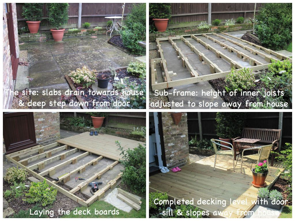 Building decking over uneven patio slabs to create a sunny