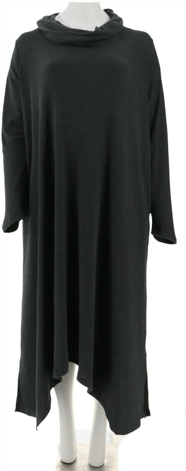 Carole Hochman Extra Brushed Interlock Cowl Neck Lounger Charcoal L NEW A310266
