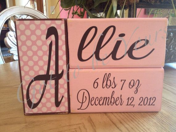 Personalized Wooden Block Set Birth Announcement Dyi